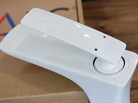 Смеситель для умывальника (Белый глянец) Newarc 981521W (Турция), фото 3