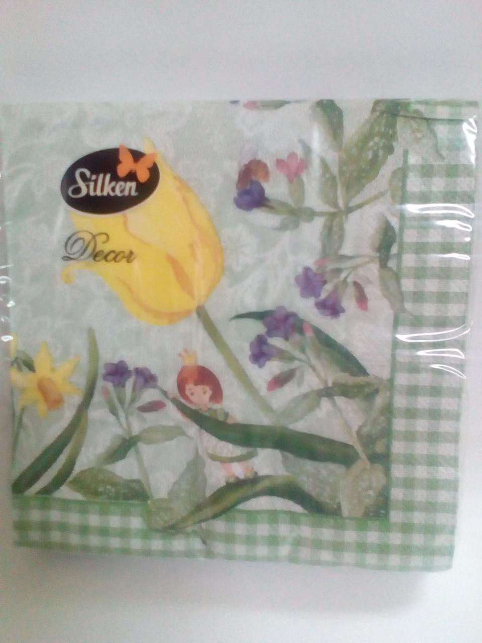 """Салфетка Silken 3-сл, """"Тюльпани"""" с печатью 20шт 33*33см"""