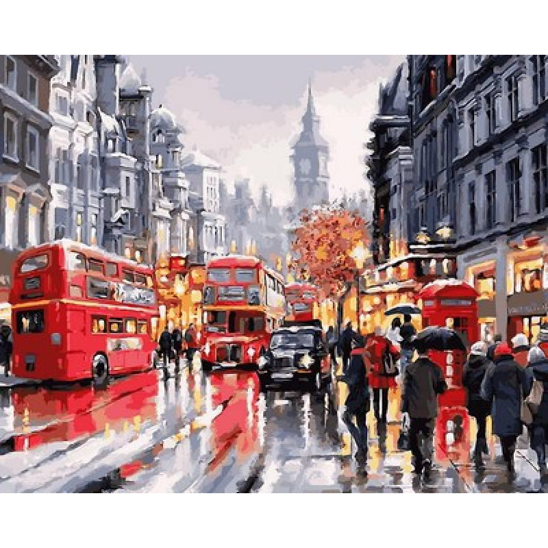 """VP763 Картина по номерам """"Автобусы ночного города"""", 40*50 см, Babylon Turbo"""