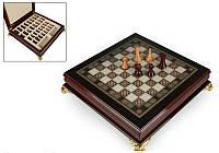 """Игра настольная """"Шахматы деревянные"""" 40х40х9 см. темные"""