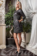 Платье-туника ангора с кожей