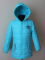 Куртка парка на девочку бирюзового цвета 3-8 лет длинная