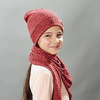 Комплект шапка и баф весна для девочки Джули красно бордо