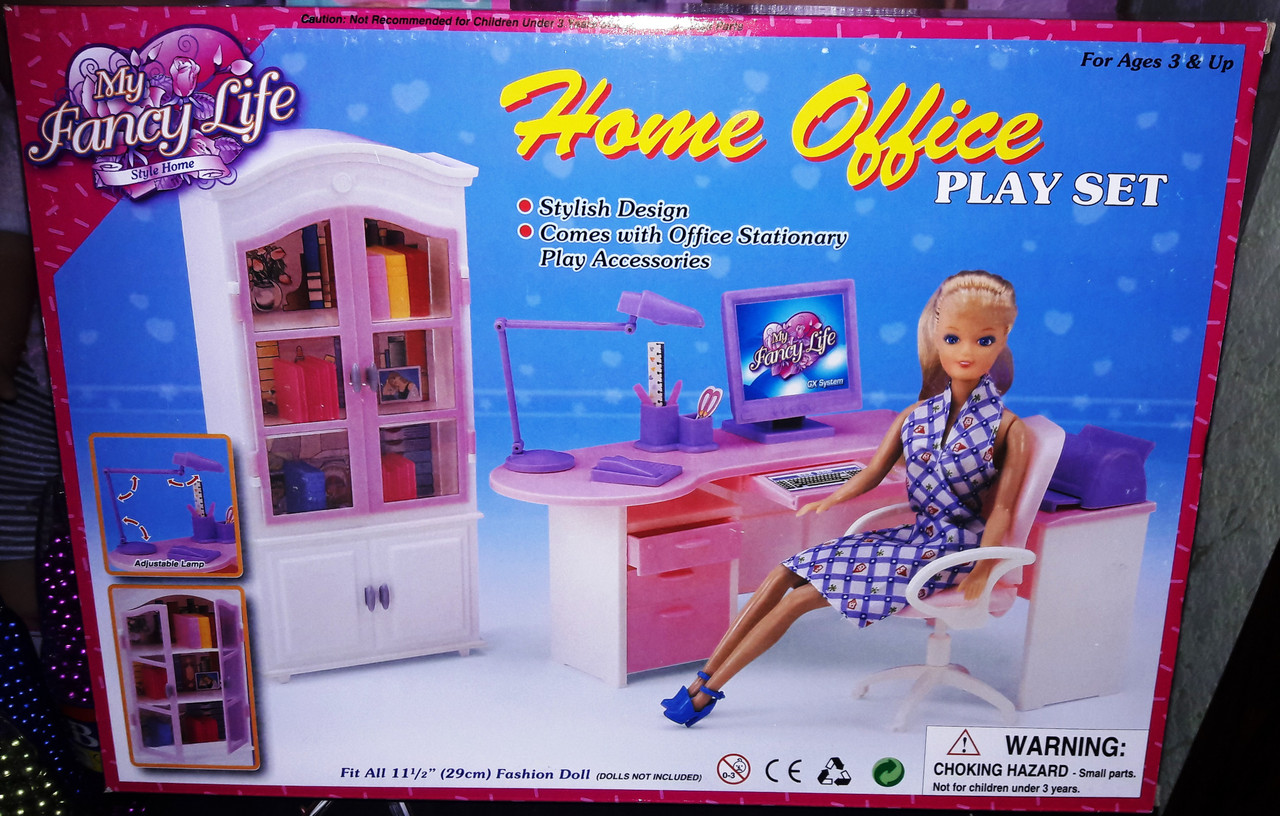Набор кукольной мебели Gloria Глория 24018 Офис для бизнес Леди Барби Home Office
