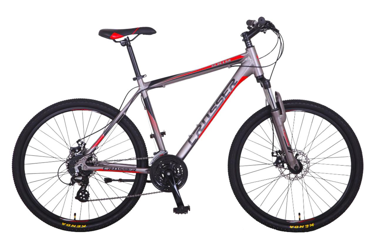 """Гірський велосипед CROSSER """"GRIM"""" 26"""" алюмінієвий з дисковими гальмами, Сіро-червоний"""