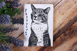 Обложка для паспорта «Котяра на белом»