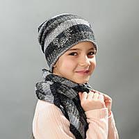 Комплект шапка и баф весна  для девочки Анэт