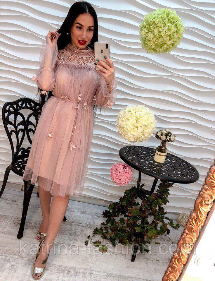 92a4c0f1e42 Женское стильное платье из шифона с жемчугом (3 цвета) - KATRINA FASHION -  оптовый