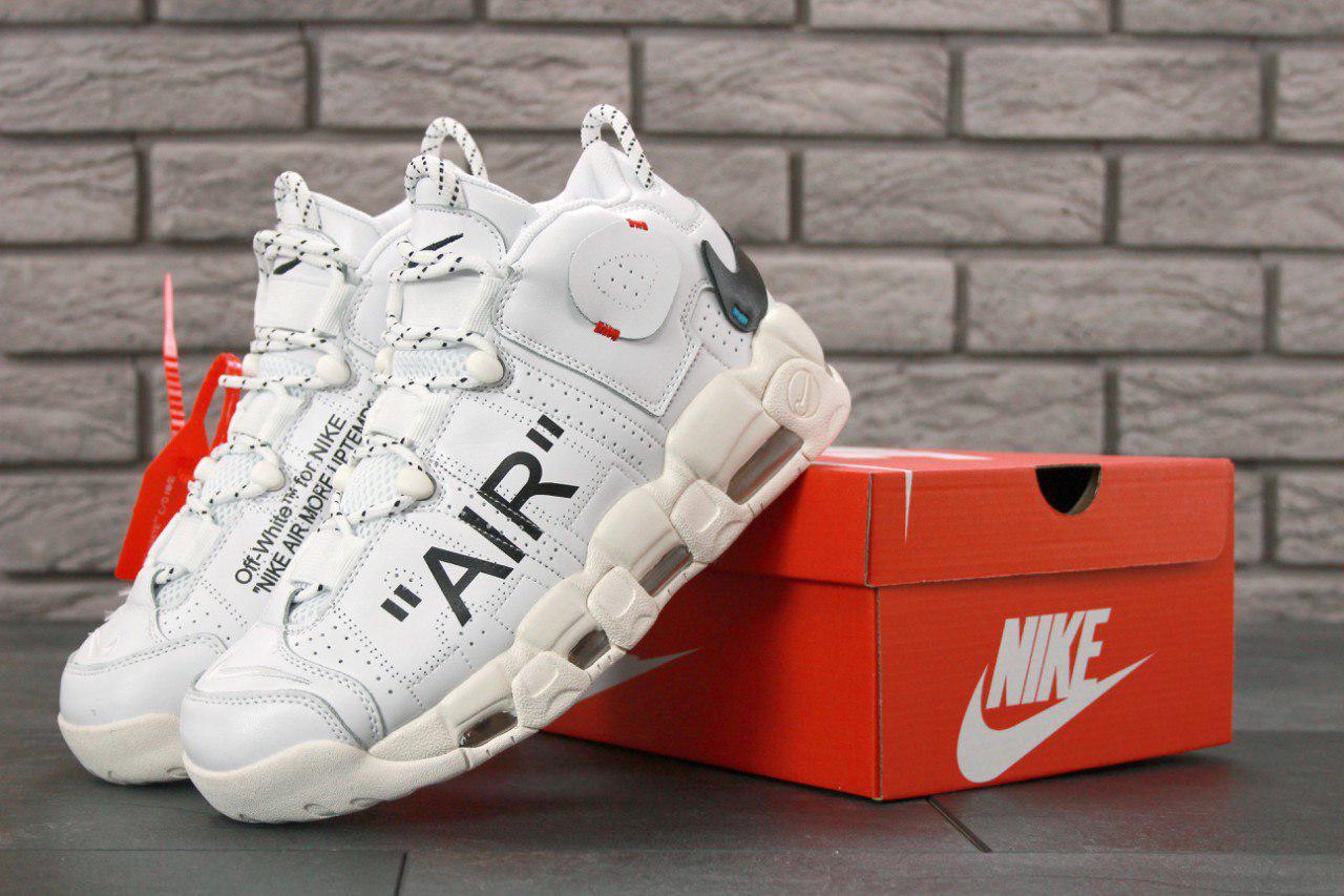 Мужские кроссовки Off-White x Nike Air More Uptempo On Feet топ реплика