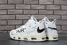 Мужские кроссовки Off-White x Nike Air More Uptempo On Feet топ реплика, фото 3