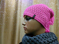 Молодежная женская шапка с ирокезом однотонная Shaggy TM Loman, полушерстяная, цвет розовый, фото 1