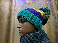 Модная женская шапка с отворотом грубой вязки   8000S TM Loman, полушерстяная, цвет зеленый, размер 56-58