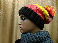 Модная женская шапка с отворотом грубой вязки   8000S TM Loman, полушерстяная, размер 56-58
