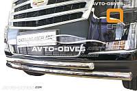 Защита переднего бампера для Cadillac Escalade 2014 - 2018 двойной ус (под заказ)