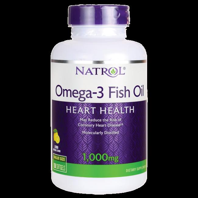 Omega-3 Fish Oil Lemon Flavor 1000 mg Natrol 150 Softgels