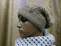 Женская шапка грубой вязки на флисе Windmill TM Loman, полушерстяная, бежевый цвет , фото 1