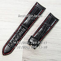 Ремешок TAG Heuer 22 mm кожаный black/red.