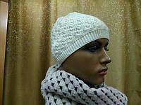 Стильная модная женская шапка тонкая и шерстяная Реверс(Revers) TM Loman, молочный цвет, размер 55-57