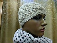Стильная модная женская шапка тонкая и шерстяная Реверс( Revers) TM Loman, бежевый цвет