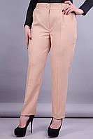 Элия. Классические брюки женские супер сайз. Беж. 58