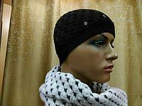 Стильная модная женская шапка тонкая и шерстяная Реверс (Revers) TM Loman, коричневый цвет