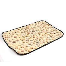 Масажний килимок для стоп з натуральної галькою 90х40 см Олві, Україна