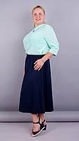 Жаклин. Элегантная юбка супер батал. Синий. 58