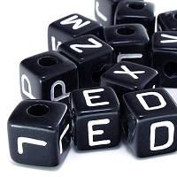Бусины акриловые алфавит Микс, черные, 10х10х10 мм (28 шт) УТ00002142