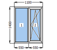 Окно металлопластиковое со створкой 1100*1400