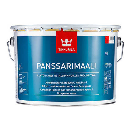 Полуглянцевая алкидная краска для металла Панссаримаали (Panssarimaali), Tikkurila, C, 0,9л, фото 2