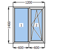 Окно металлопластиковое со створкой 1200*1400