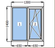 Окно металлопластиковое со створкой 1300*1400