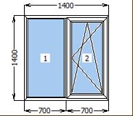 Окно металлопластиковое со створкой 1400*1400