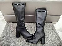 высокие женские сапоги на каблуке натуральная кожа  весна-осень черные