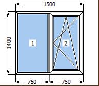 Окно металлопластиковое со створкой 1500*1400