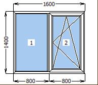 Окно металлопластиковое со створкой 1600*1400