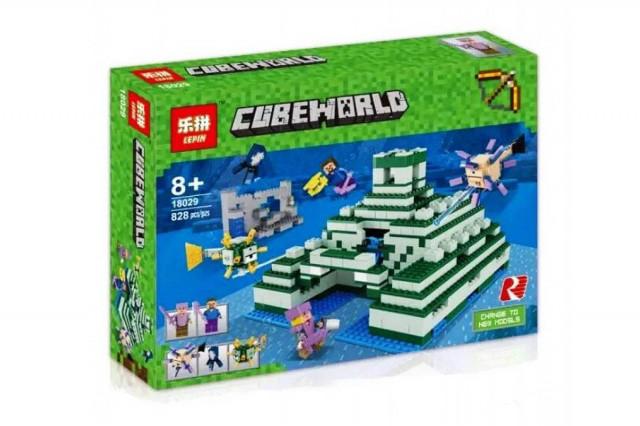 Конструктор Lepin 18029 Майнкрафт Minecraft Подводная крепость или Пирамида в океане 828 дет