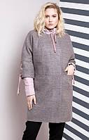 Женское демисезонное пальто и куртка больших размеров розового цвета (50, 52, 54, 56, 58, 60, 62)