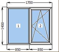 Окно металлопластиковое со створкой 1700*1400