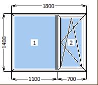 Окно металлопластиковое со створкой 1800*1400
