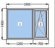 Окно металлопластиковое со створкой 1900*1400