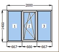 Окно металлопластиковое со створкой 2000*1400