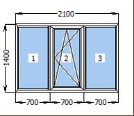 Окно металлопластиковое со створкой 2100*1400