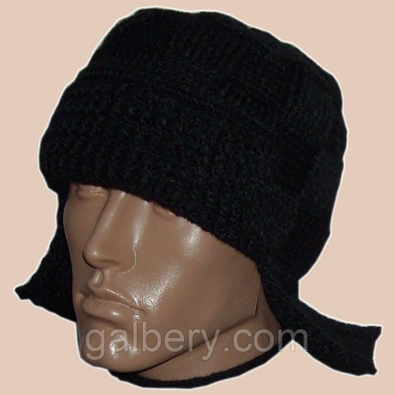 Мужская вязаная шапка - ушанка (утепленный вариант) черного цвета