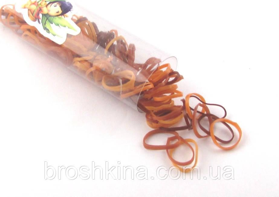 Маленькие силиконовые резиночки для волос коричневые тона 12 шт/уп