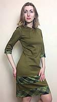 Платье-футляр комбинированное П120