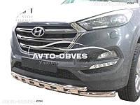 Двойной ус с грилем для Hyundai Tucson 2015-2017 Эксклюзив