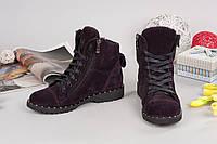 Ботинки женские натуральный замш/кожа на турецкой подошве