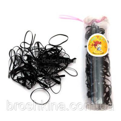 Маленькие силиконовые резиночки для волос черные 12 шт/уп
