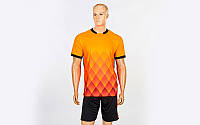 Футбольная форма Lozenge (PL, р-р M-3XL, оранжевый, шорты черные), фото 1